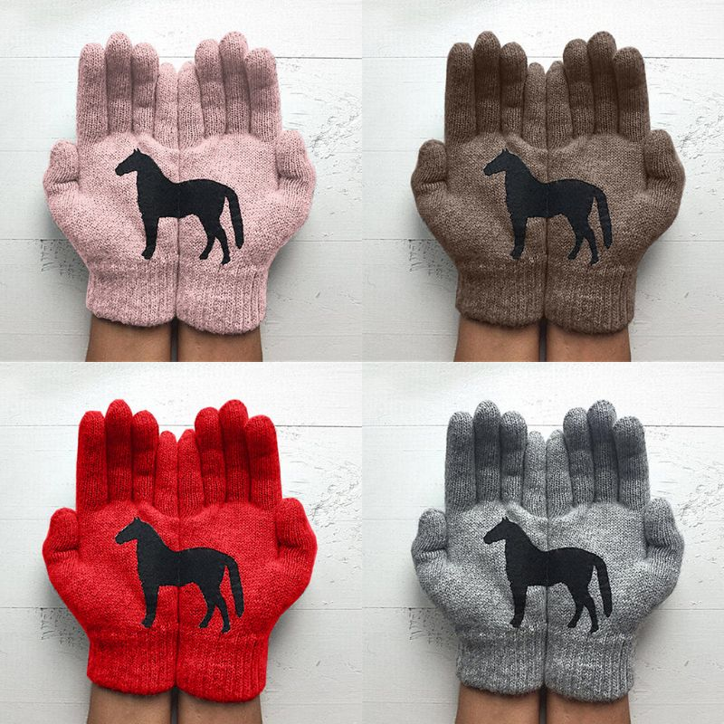 Womens Winter Thicken Warm Knitted Full Fingered Gloves Funny Black Horse Irregular Patchwork Palm Elastic Outdoor Ski Mittens