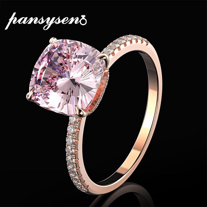 PANSYSEN-bague en argent Sterling 925, bijou fin pour femmes, bague en Quartz Rose naturel, couleur or Rose 18K, cadeaux de mariage