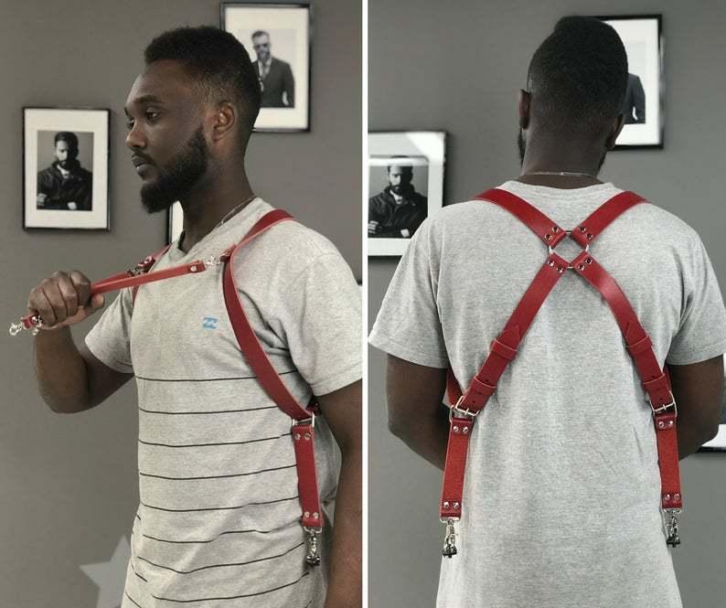 4 Hooks Adjustable Suspender Camera Joker Man Belt Pu Leather Buckle Straps Tirantes Military Slinger Vintage Male