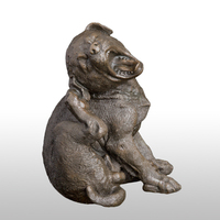 ATLIE Puppy Yawning Dog Bronze Sculpture Figurines Animal Statue for Christmas Gifts Children Room Decor