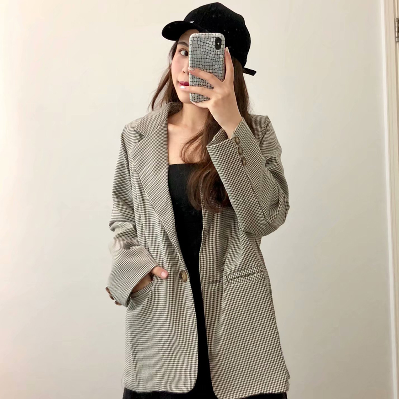 Drop Shipping Vintage Plaid One Button Women Blazer Notched Collar Full Sleeve Casual Jacket Femme Suits Outwear Good Quality
