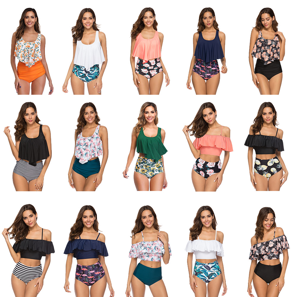Swimwear Women 2020New Lotus Leaf Women's Swimsuit Multicolor  Sexy Quick-drying High Waist Girls Bikini Swimming Suit For Women