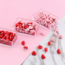 50pcs Pink Red Heart Thumbtack Push Pins Plastic Cork Board Safety Colored Pins School Stationary Binding Office Accessories