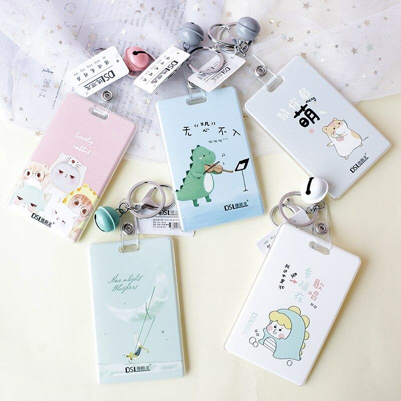 1pcs Kawaii Cartoon Card Holder With Bell Nurse Doctor Exhibition Pull Key ID Name Cute Card Badge Holder School Office Supplies