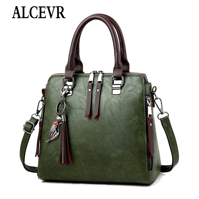 ALCEVR Solid Soft PU Leather Tote Bags Fashion Women Shoulder Bag Ladies Large Shopping Crossbody Bags Fur Ball Cute Cat Handbag