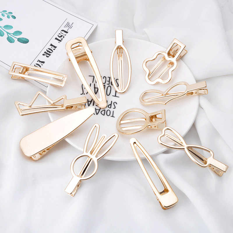 Geometric Hollow Stars Heart Knot Barrettes Clips for Women Hair Side Bobby Pins Ponytail Hairpins Girls Metal Hairclips