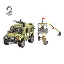купить Military Series Across The Battlefield Ryan Jeep Model Car Building Blocks Sets Bricks kids Educational toys for Children gift онлайн