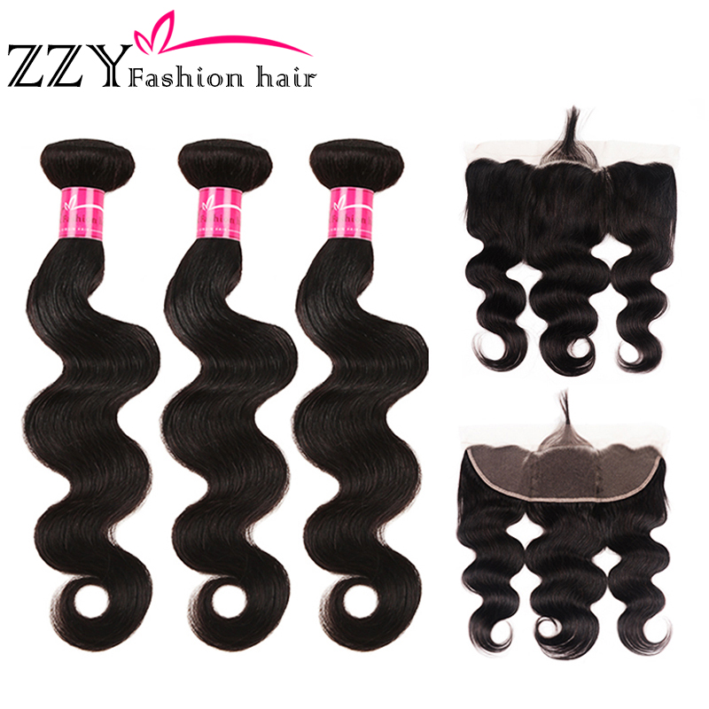 ZZY Fashion Hair Brazilian Body Wave Bundles With Frontal Closure Human Hair Weave Bundles Non-remy Ear To Ear Lace Frontal