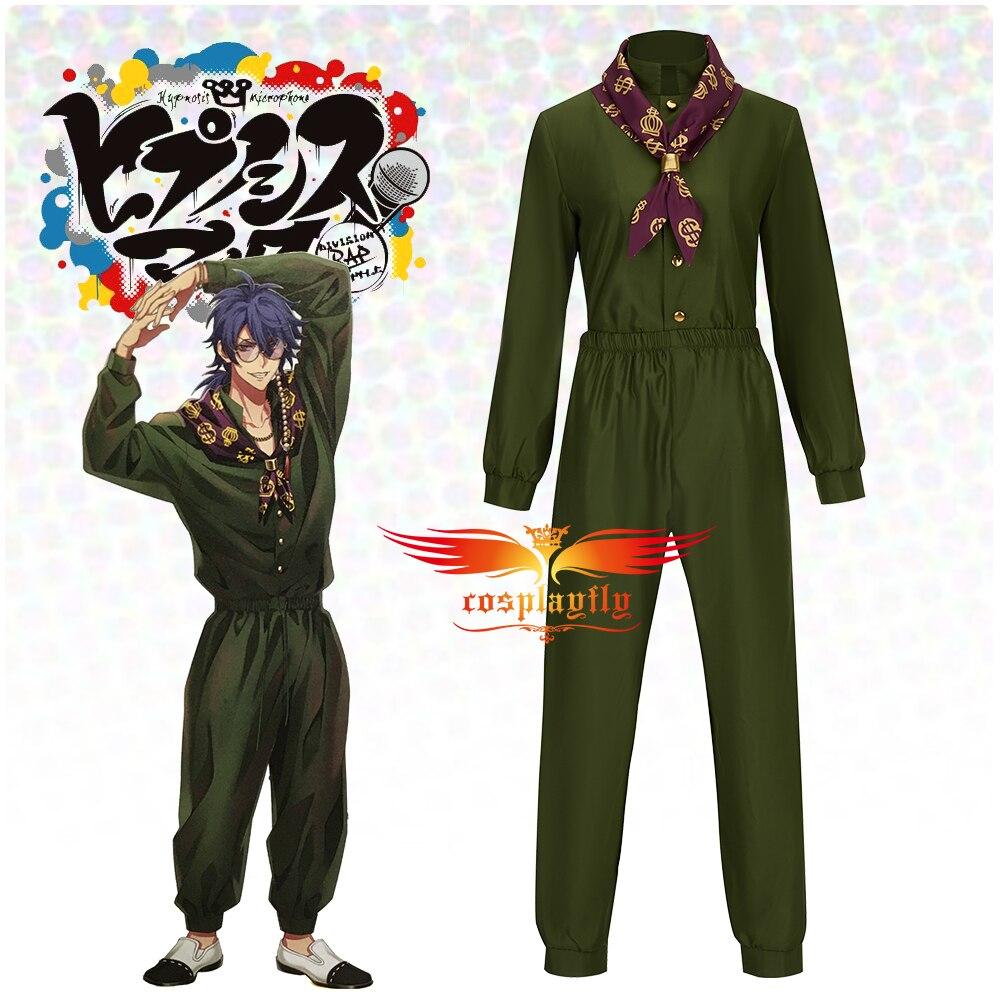 Game Division Rap Battle Arisugawa Dice Cosplay Costume Adult Women Men's Uniform Olive Green Top Pants Printed Scarf Halloween
