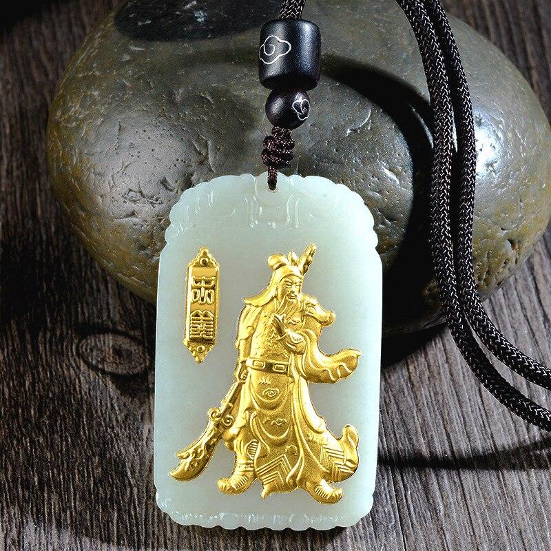 Naturel chinois Hetian blanc Jade mosaïque or pendentif Guan Yu beau bijoux collier sculpté mode pour hommes amulette cadeaux - 2