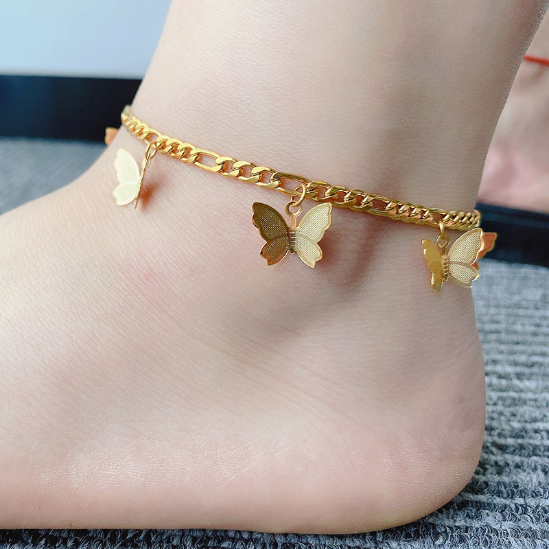 Gold Butterfly Anklet for Women Butterfly Ankle Bracelet Ankle Bracelet Stainless Steel Butterfly for Her