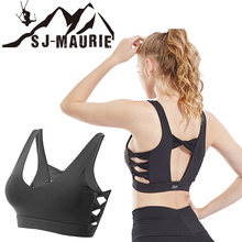 SJ-MAURIE Side Cross Gym Fitness Women Shockproof Sports Bra Push Up Bras Padded Yoga Sexy Back