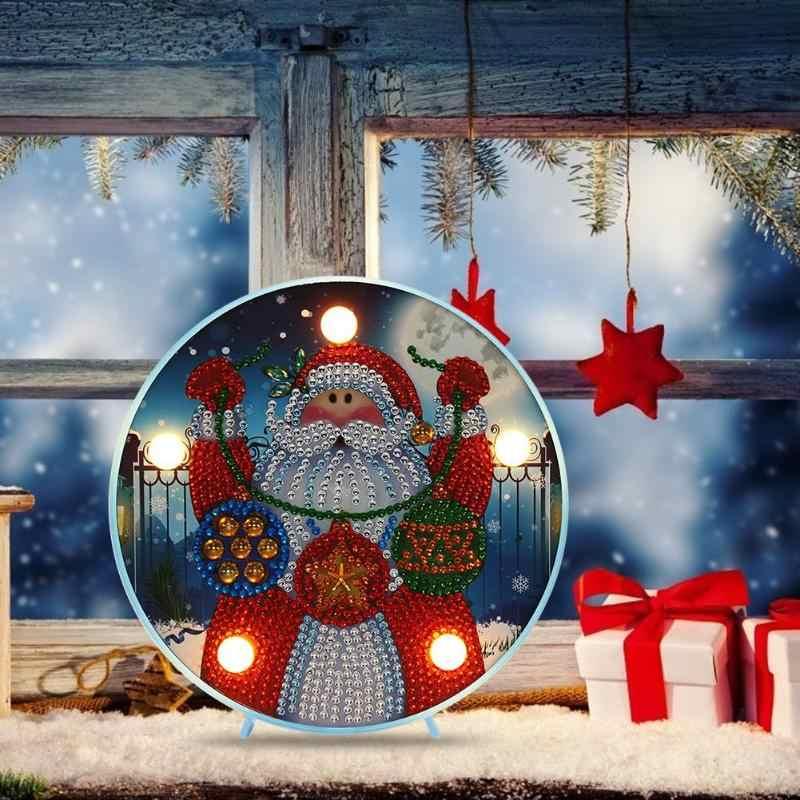 Diy led especial em forma de diamante pintura ponto cruz delicado natal boneco de neve elk ornamento crianças presente modelagem lâmpada