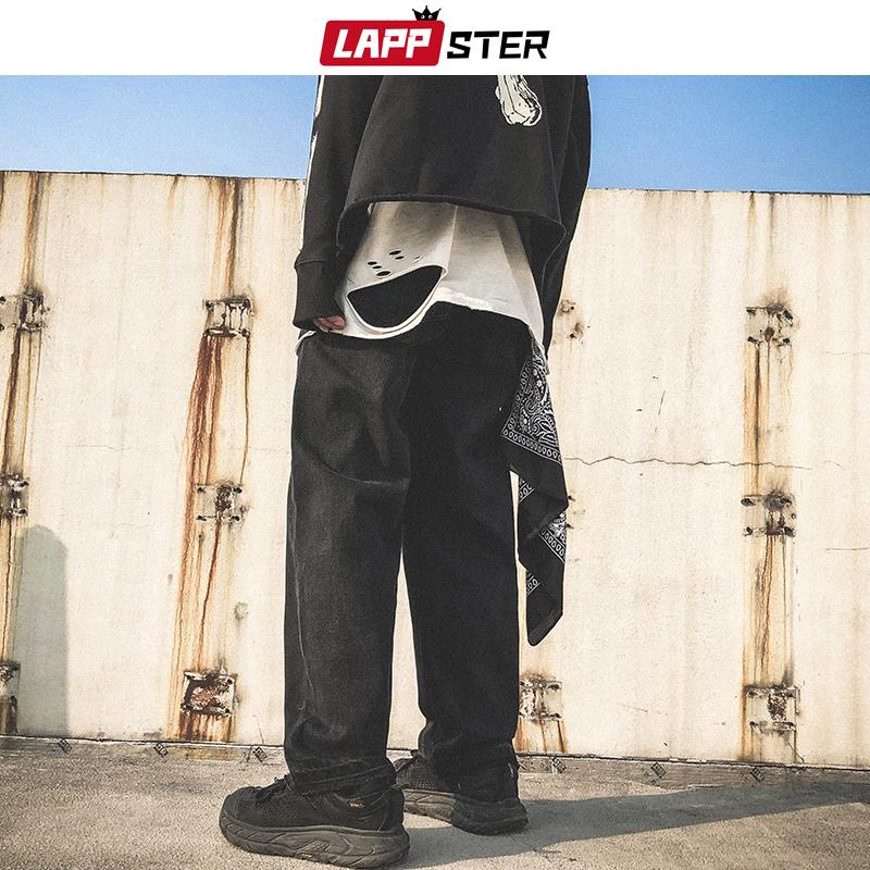LAPPSTER Men Skeleton Oversized Black Jeans Pants 2020 Denim Mens Streetwear Hip Hop Harem Pants High Wasit Denim Pants Overalls