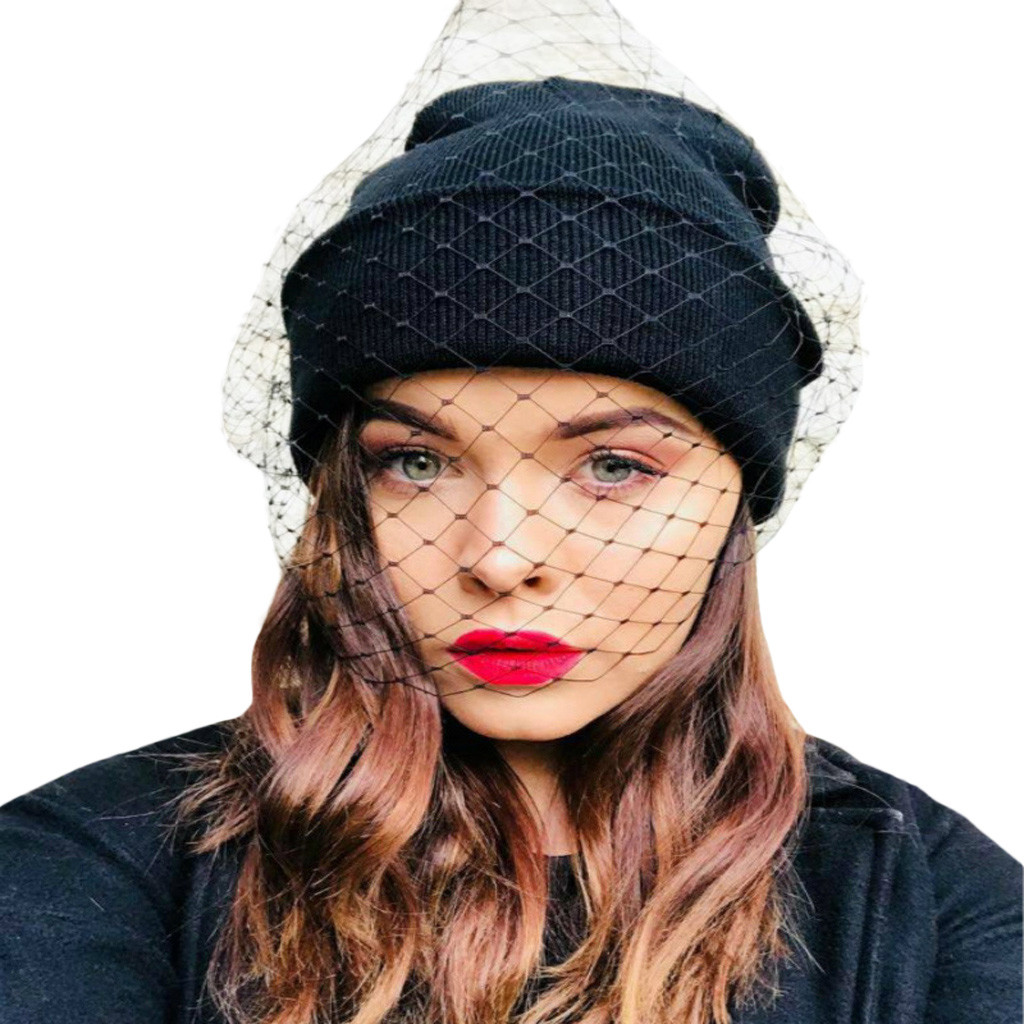 Winter Warm Women  Knitted hat with veil Crochet Knit Beanie Cap Casual Novelty Solid Female Outdoor Caps