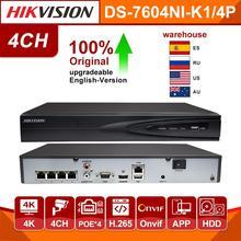 Hikvision oryginalny 4CH Nvr DS 7604NI K1/4 P sieciowy rejestrator wideo 4 porty PoE CCTV kamera do rejestracji wideo 4 kanałowy wbudowany wtyczka typu plug play