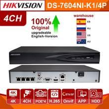 Hikvision original 4ch nvr DS-7604NI-K1/4 p rede vedio gravador de 4 portas poe câmera cctv gravador 4 canais plug play incorporado