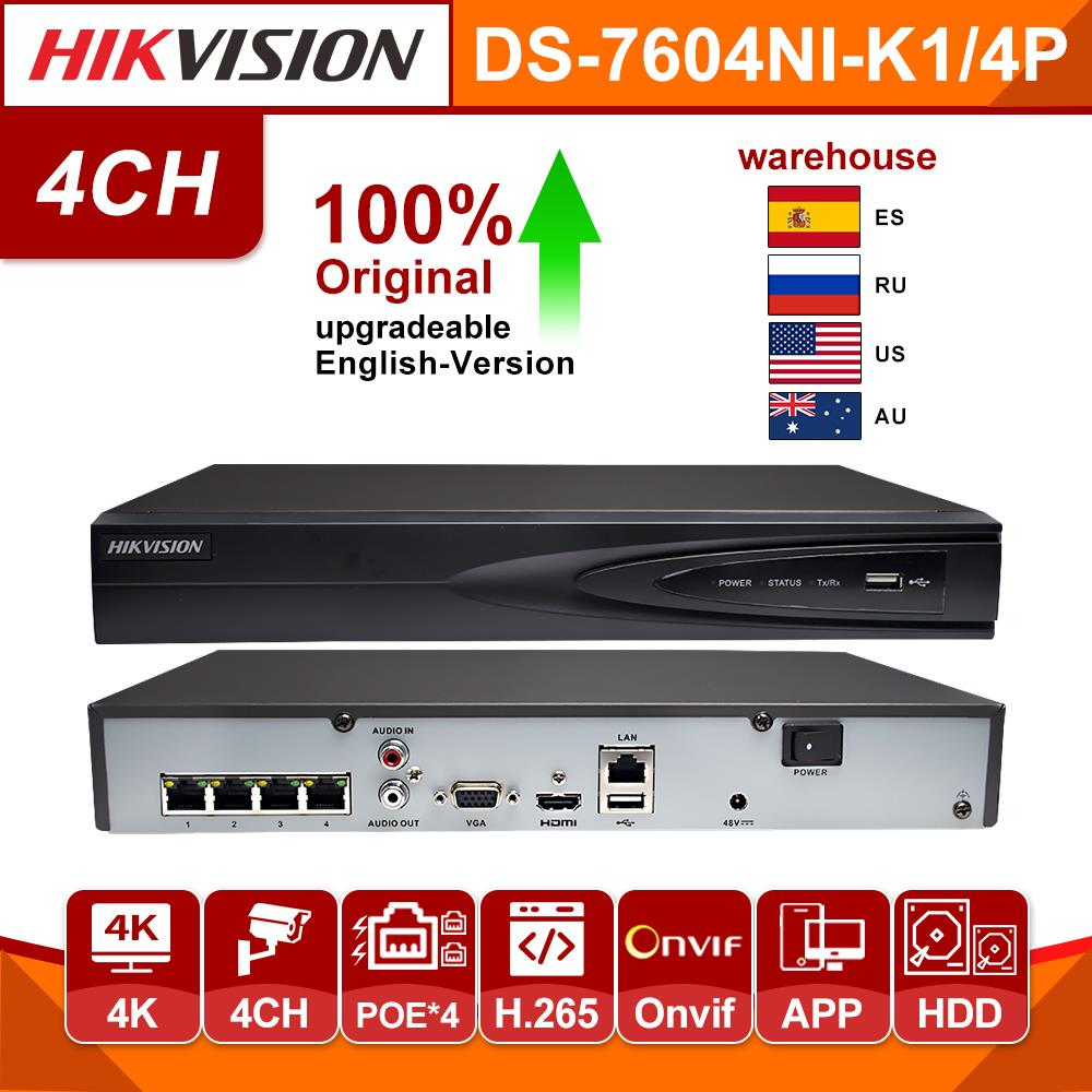 Original Hikvision NVR 4CH Nvr DS-7604NI-K1/4P Network Vedio Recorder 4 PoE Ports CCTV Camera Recorder 4 Channel For IP Camera