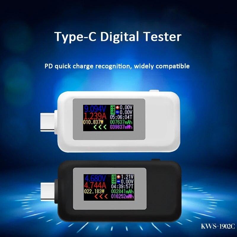 10 в 1 USB-тестер постоянного тока Type-C 4-30 в измеритель напряжения таймер Амперметр цифровой монитор индикатор отключения питания зарядное уст...