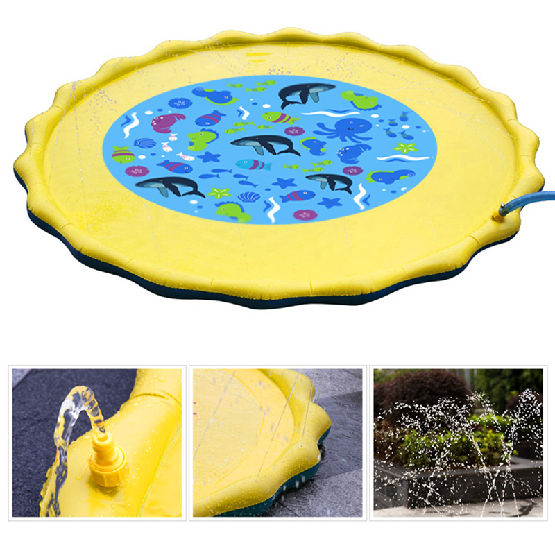 JULY'S SONG Children's Inflatable Water Playing Mat Sprinkle Splash Play Mattresses Swimming pool toy accessories Kids Spray