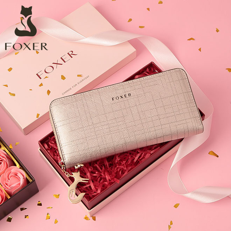 FOXER Women Cow Leather Long Wallet Valentine's Day Gift Fashion Lady Wristband Clutch Purse Cellphone bag Female Card Holder