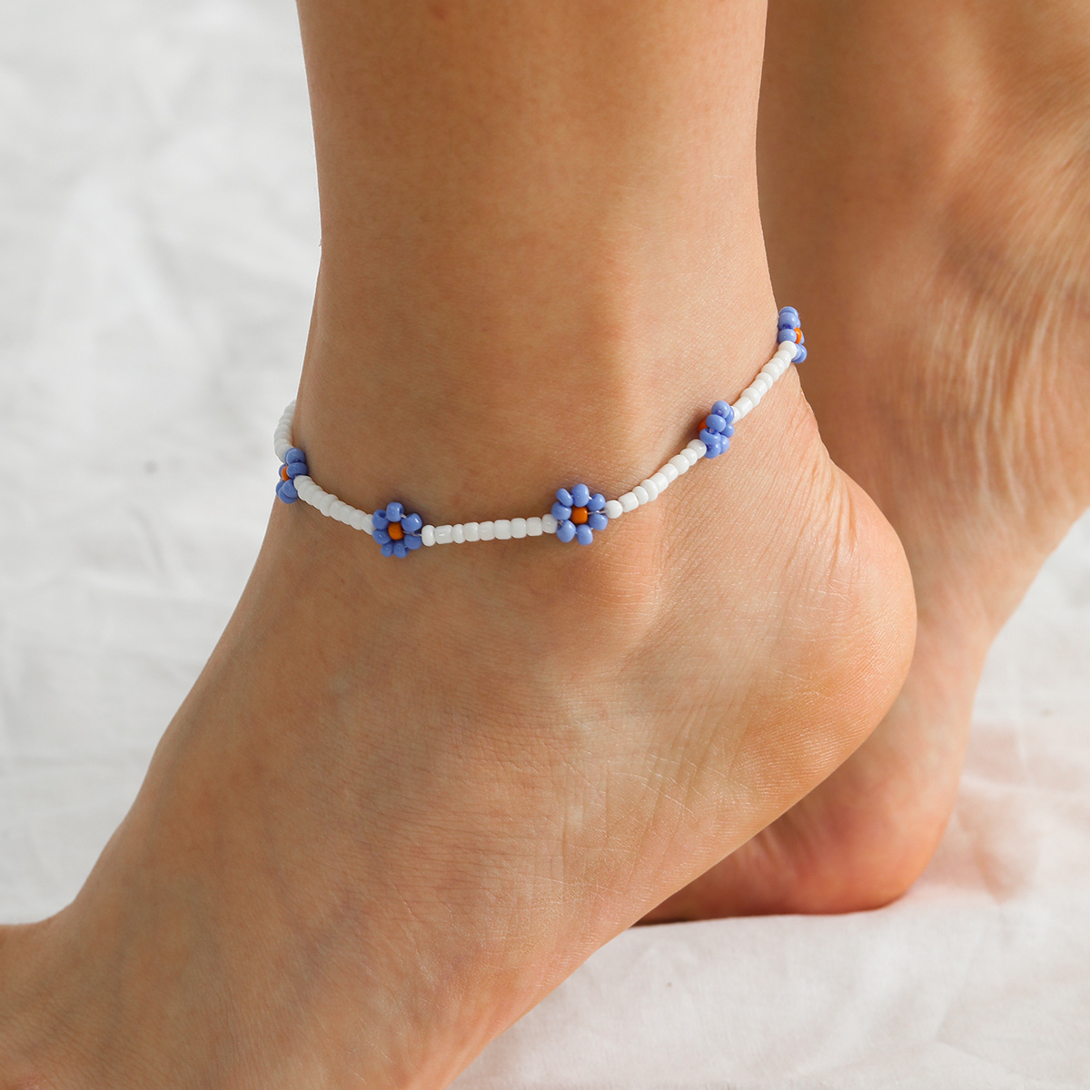 Bohemian Colorful Seed Beads Daisy Flower Anklets for Women Summer Ocean Beach Ankle Bracelet Foot Leg Jewelry 2020