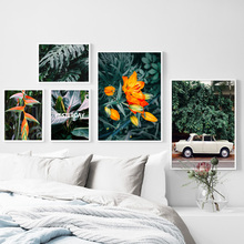 Wall Art Canvas Painting Flower Monstera Palm Leaf Banana car Nordic Posters And Prints Plant Pictures For Living Room