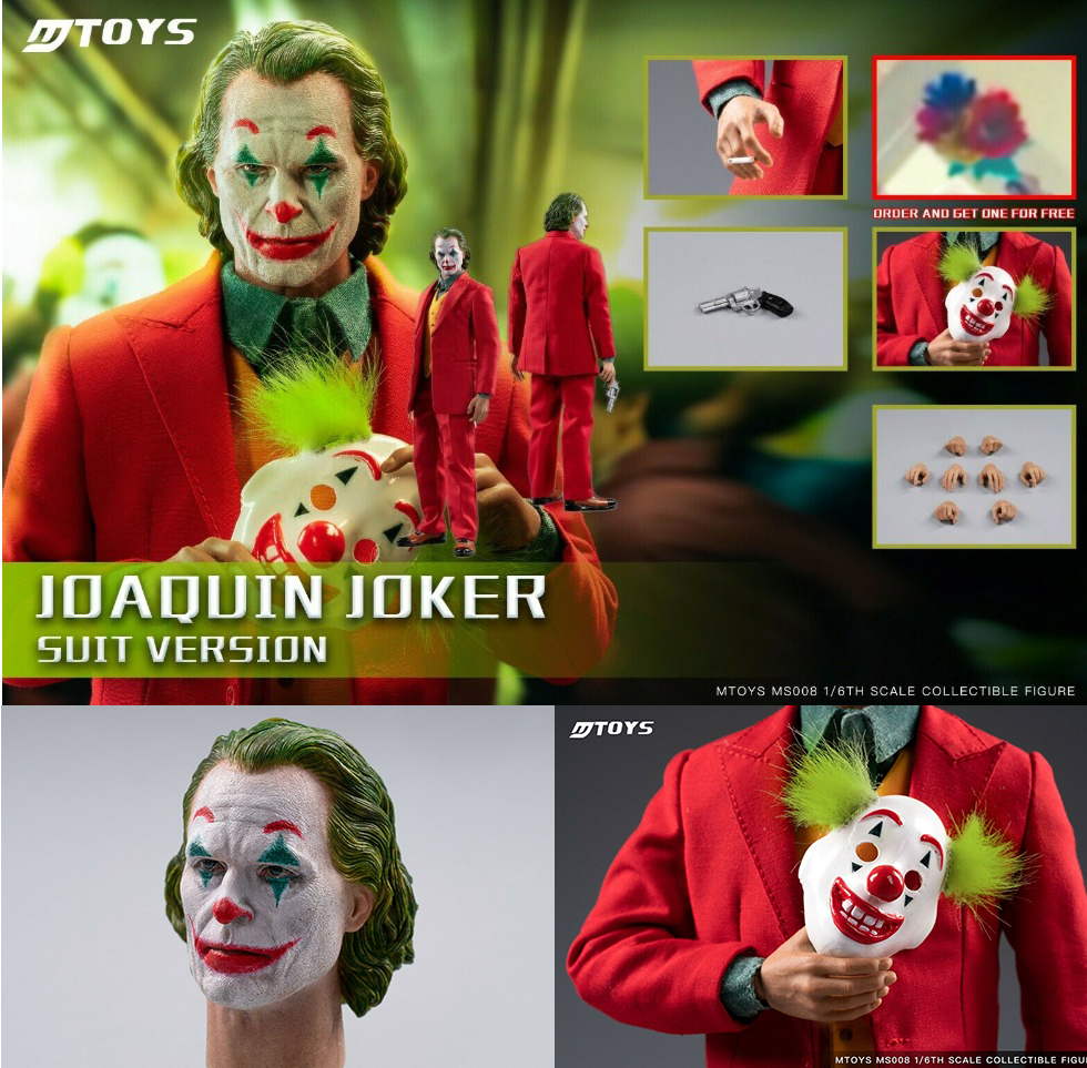 1/6 MTOYS Full Set Joker Joaquin Phoenix Clown Prequel Red Suit Ver. Makeup Head Sculpt With Mask Ms008 Dolls Toy