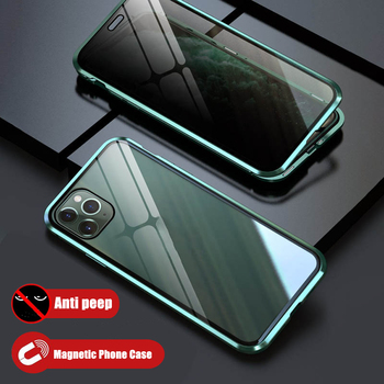 Privacy Magnetic Glass Phone Case Anti Peep Screen Protector for iPhone 11 Pro Max 6 7 8 Plus X XS XR Magnet Case Cover