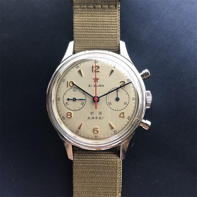 Genuino Gabbiano Movimento St1901 1963 Pilot Orologio Cronografo Mens Acrilico Quadrante di Orologio Meccanico gabbiano di mare Da Polso Da Uomo orologi D304