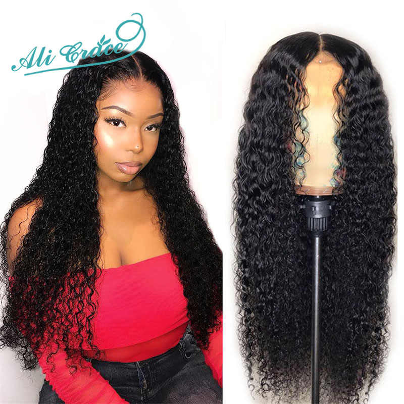Ali Grace Lace Front Wigs Brazilian Curly Human Hair Wigs Pre Plucked Hairline With Baby Hair Remy Hair 360 Lace Frontal Wigs