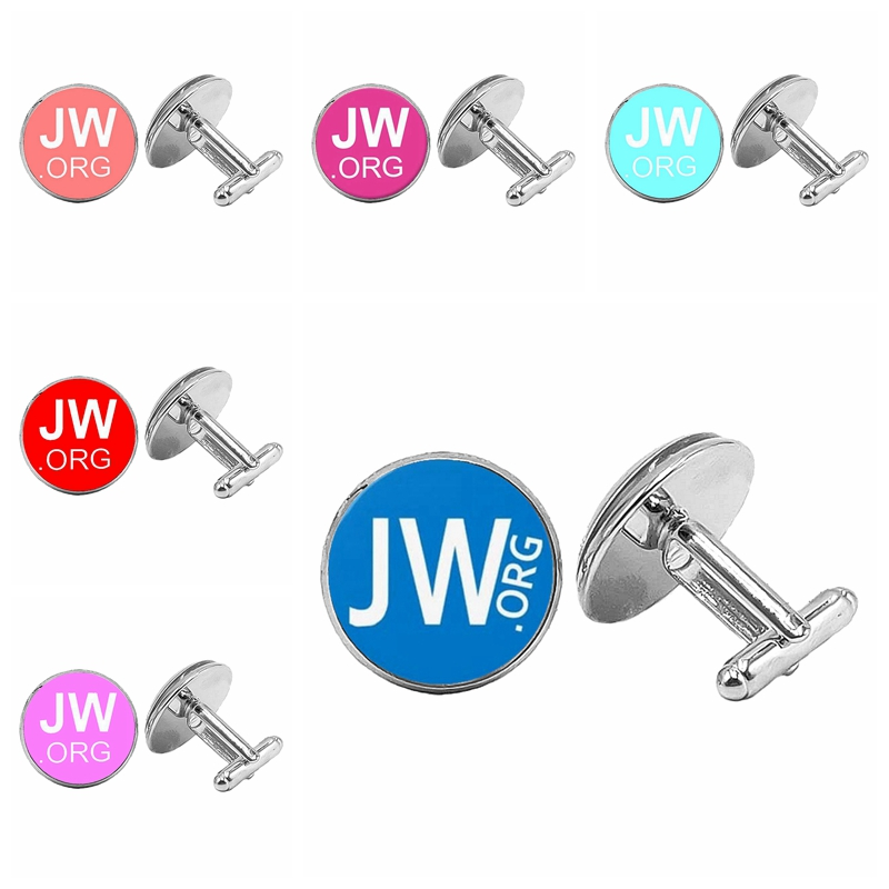 Hot 2019 Super New Classics Popular JW ORG Badge Cufflinks Glass Cabochon Silver Cufflinks Men 39 s Gift Jewelry in Tie Clips amp Cufflinks from Jewelry amp Accessories