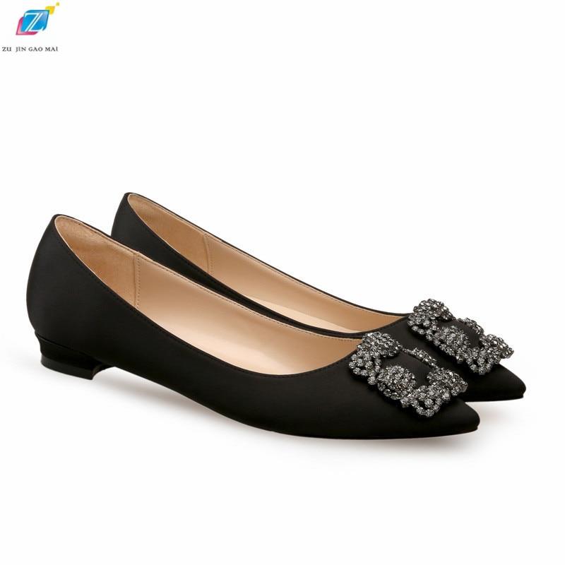 Black Satin Cloth Flats Shoes Woman Basic Sequined Rhinestones Crystal Diamond Buckle Flats Fashion Bridal Shoe Work Women Shoes