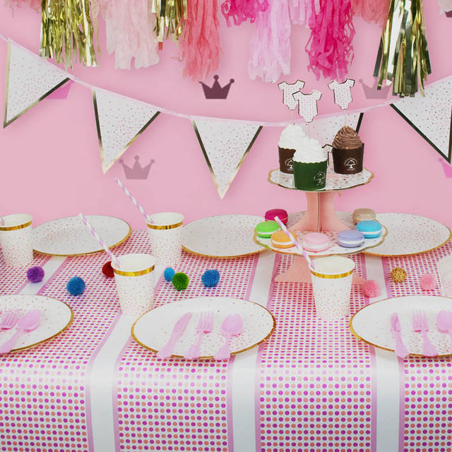 Pink Dot Printed Tablecloth