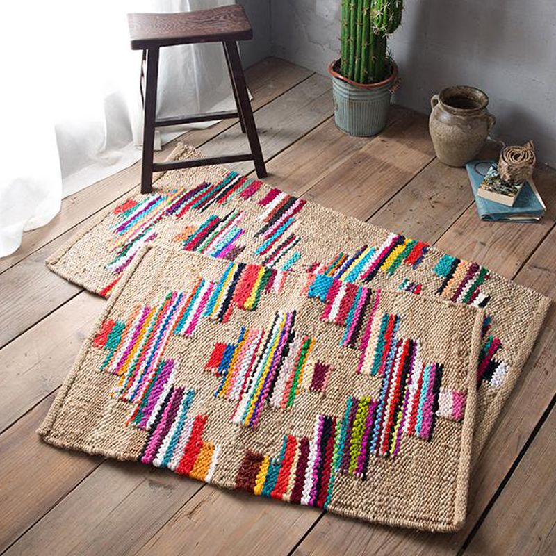 Indian Cotton Woven Floor Carpet Home Decorative Floor Rug Beach Yellow Runner
