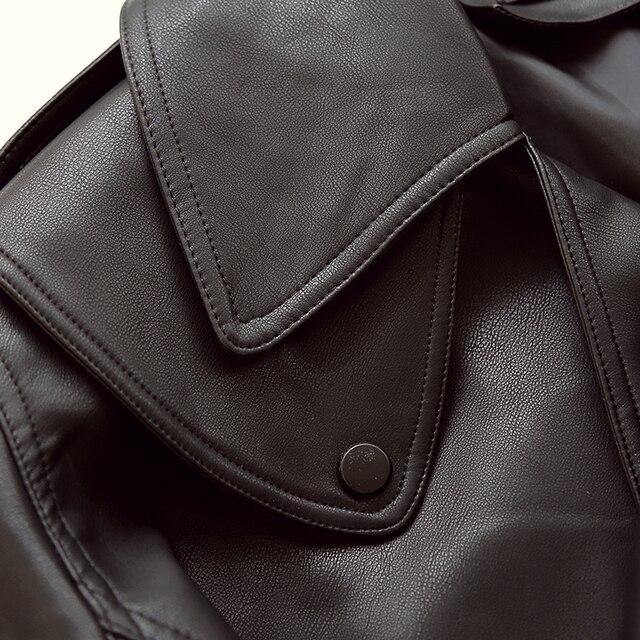 FTLZZ New Spring Women Faux Leather Jacket Biker Red White Coat Turndown Collar PU Motorcycle Jackets Loose Streetwear Outerwear 3