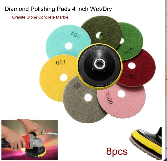 8 Pieces 4-Inch Diamond Polishing Pad