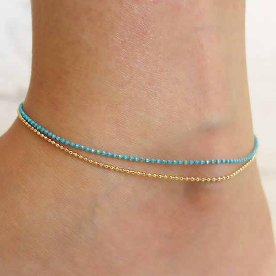 Dainty Bule złoty kolor srebrny koralik bransoletka na kostkę na nodze podwójny łańcuch biżuteria na stopy panie plaża łańcuszek na kostkę