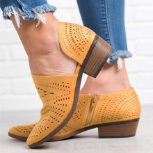 STAN SHARK 2019 Fashion Women Boots Spring Summer Block Low Heel Ladies Booties PU Leather Hollow Ou