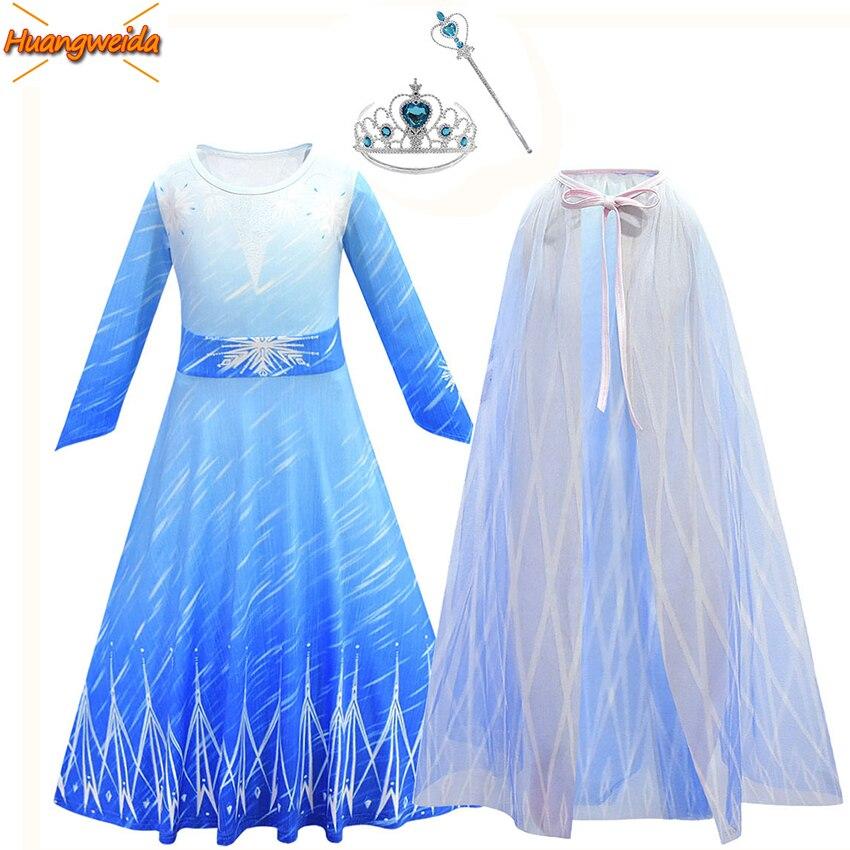 Elsa Princess Dress Girl Costumes Kids Dress Halloween Costumes for Kids Elsa Cosplay Costume Girl Cloak Carnival Clothes