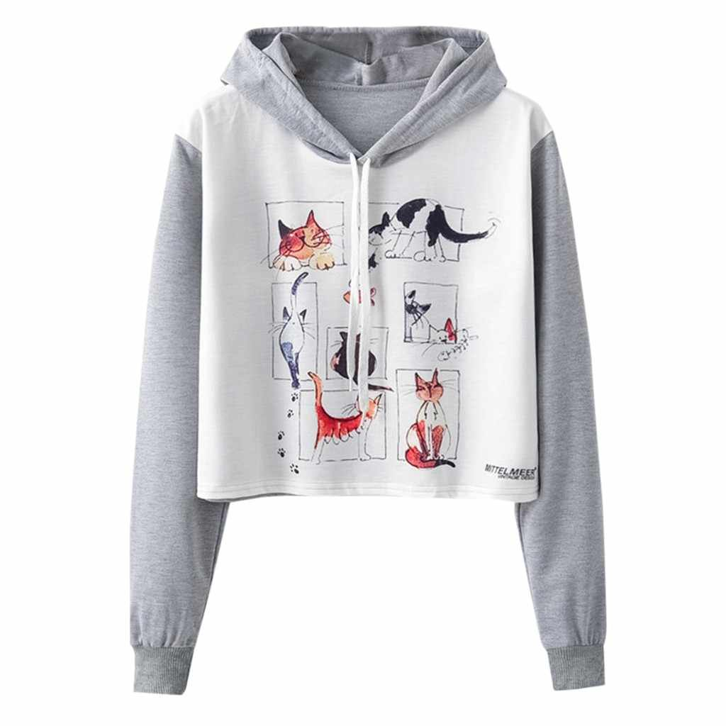 Women Girl Fox Kawaii Lovely Animal Print Splice Hooded Pullover Sweatshirt Hoodies Spring Fall Clothes Cover #V