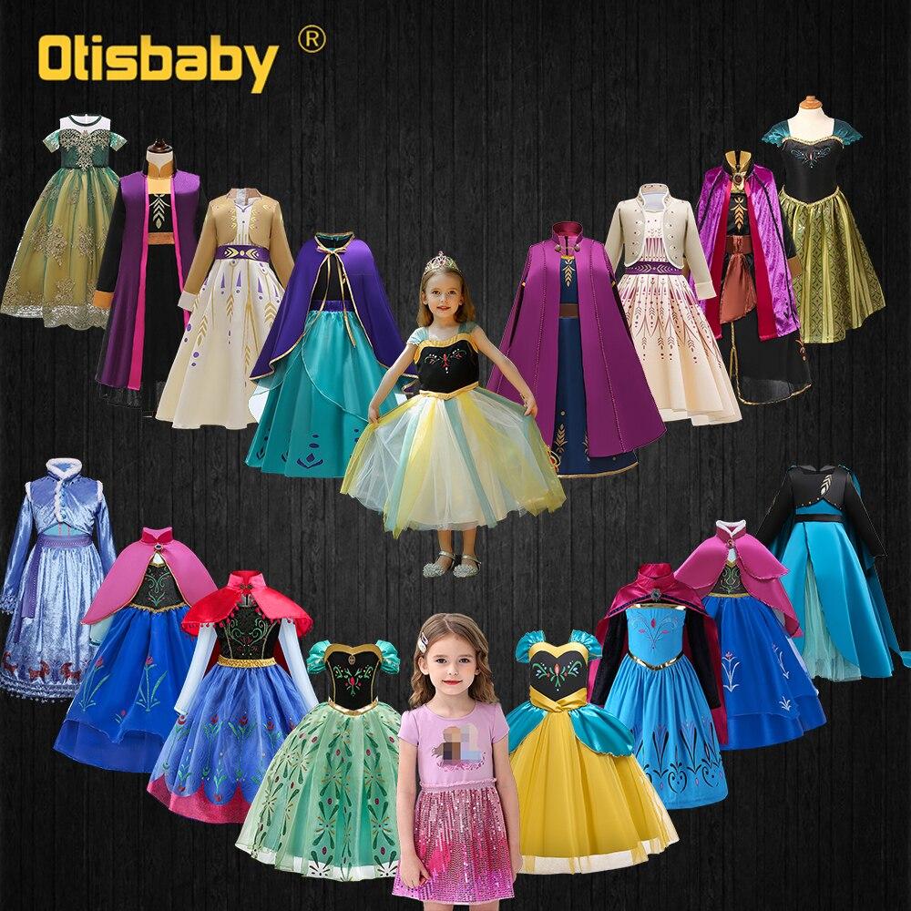 Коллекция принцессы Анны; Летнее платье Эльзы и Анны для девочек; Детские маскарадные платья для маленьких девочек; Праздничные платья на д...