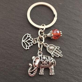 Llaveros tribales étnicos, regalo único bohemio, llavero de loto, joyería de mano, elefante, coche, llavero para mujer 1 unidad