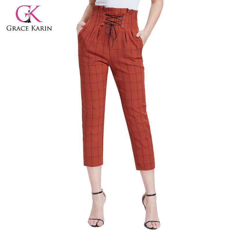 Grace Karin Women's Stylish   Pants   Women Elastic High Waist Lace Up   Capris   Ankle Length Plaid Pencil   Pants   Office Lady Trousers