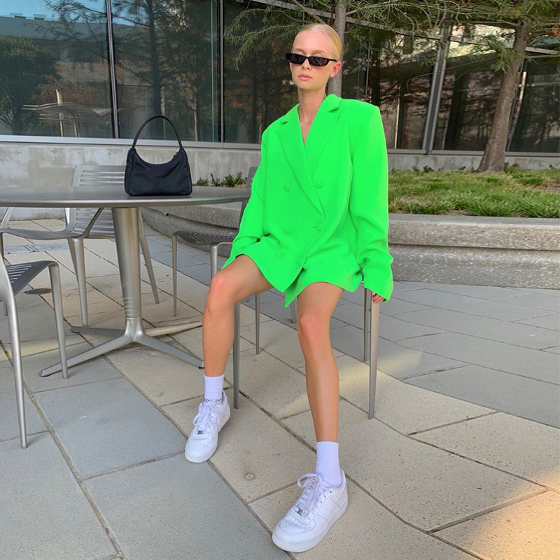 women blazer coats causal office OL long jacket outwear solid pocket slit button streetwear clothes 2019 autumn winter