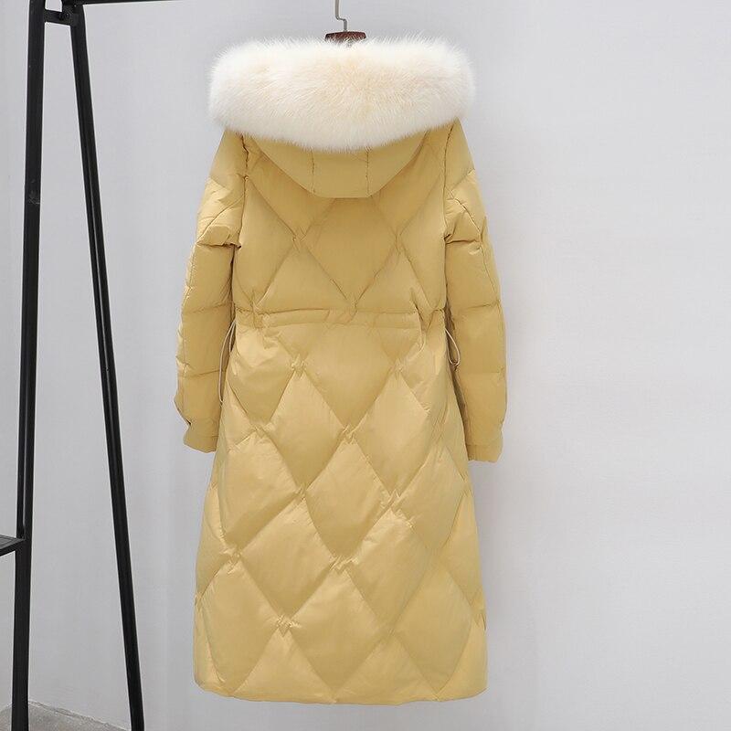Large Natural Mink Fur Women 90% White Duck Down Long Parkas Winter Loose Female Snow Warm Coat Hooded Jacket Outwear