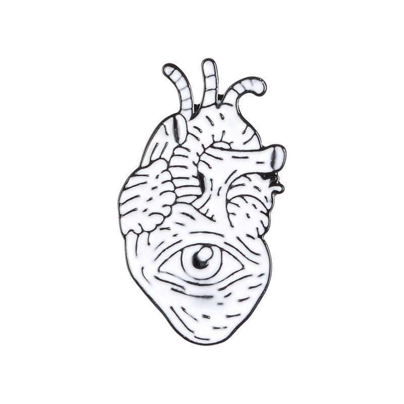 การ์ตูนป้ายสีขาวหัวใจเข็มกลัดสำหรับสตรี Creative Eye Pins หัวใจเครื่องประดับ Lapel Pin Enamel Pin กระเป๋าเป้สะพายหลังกระเป๋าอุปกรณ์เสริมของขวัญ