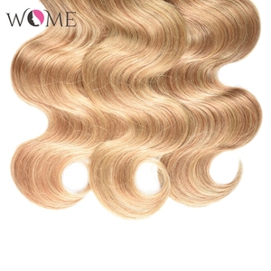 Image 4 - WOME Pre colored Brazilian Body Wave Hair Bundles Ombre Human Hair Bundle Honey Blonde 1b/27 1b/30 Two Tone Sew in Non remy Hair