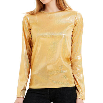 цены Glitter Top Tee Women Metallic Sequin Sparkly O Neck Long Sleeve Shirts Holographic Shiny Blouse Shimmer