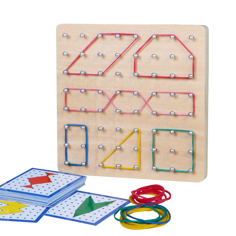 Montessori Toys Kids Creative Graphics Rubber Tie Nail Boards Children Educational Wooden Toys Preschool Brinquedos Juguetes(China)